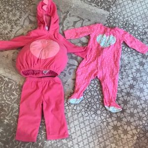 Carter's Heart Romper and Dinosaur Tracksuit.